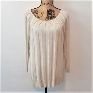 Joseph Allen Cream Metallic Gold Sweater Size XL